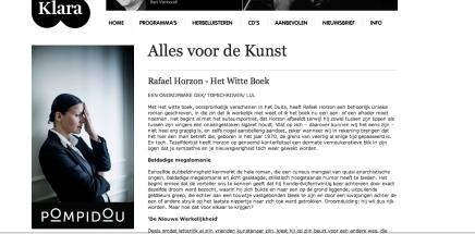 """Christophe Vekeman: """"Alles voor de Kunst Rafael Horzon – Het Witte Boek EEN ONGRIJPBARE GEK/ TOPSCHRIJVER/LUL"""""""