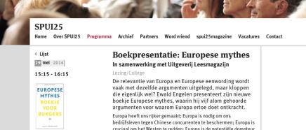Ewald Engelen Spui25, boekpresentatie: Europese mythes In samenwerking met UitgeverijLeesmagazijn