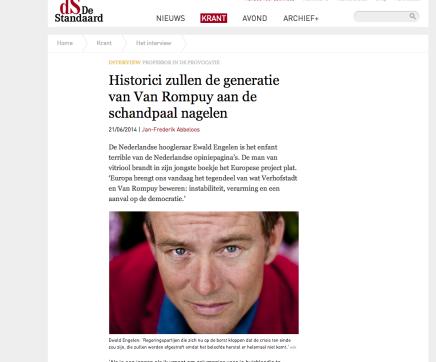 """Ewald van Engelen over Europese Mythes (verschenen bij Leesmagazijn); """"Historici zullen de generatie van Van Rompuy aan de schandpaalnagelen"""""""