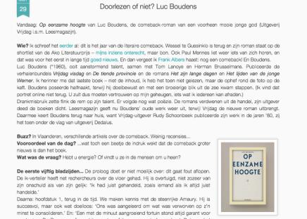 Op eenzame hoogte van Luc Boudens, de comeback-roman van een voorheen mooie jonge god (Uitgeverij Vrijdag i.s.m.Leesmagazijn).