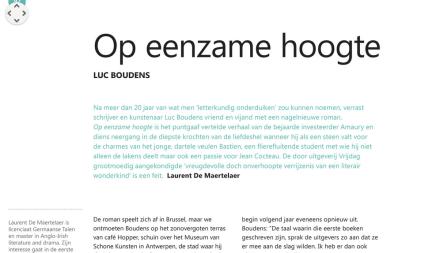 Laurent de Martelaer over Op Eenzame hoogte van Luc Boudens,Staalkaart