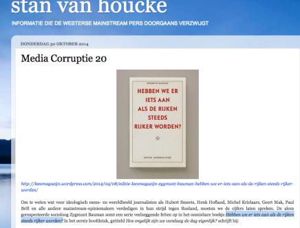 """Media Corruptie 20  Stan van Houcke over oa Zygmunt Bauman; """"Hebben we er iets aan als de rijken steeds rijkerworden?"""""""