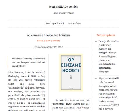 Jean Philip De Tender: Op eenzame hoogte, Luc Boudens, Alles is eenverhaal