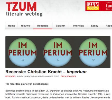 Tzum Recensie: Christian Kracht – Imperium door Johannes van derSluis
