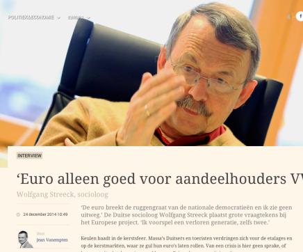 Jean Vanempten 'Euro alleen goed voor aandeelhouders VW'  Wolfgang Streeck,socioloog