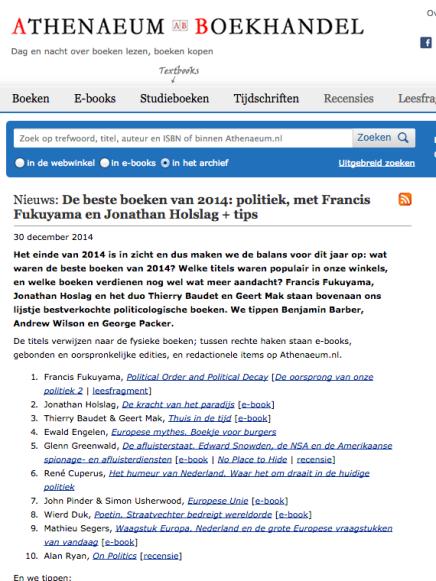 Ewald Engelen Europese Mythes, Leesmagazijn De beste boeken van 2014: politiek,  tips BoekhandelAtheneum