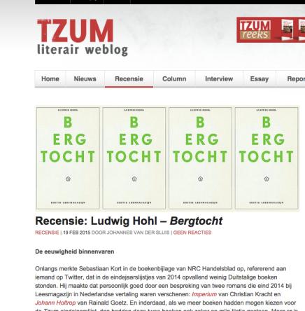 Recensie: Ludwig Hohl – Bergtocht  19 FEB 2015 DOOR JOHANNES VAN DER SLUIS   Tzum 19 Feb15