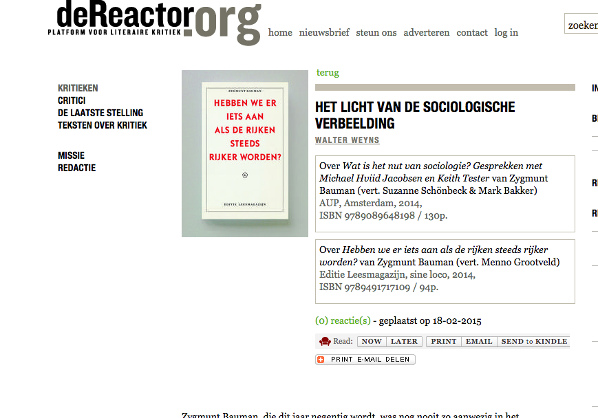 Recensie WALTER WEYNS: ebben we er iets aan als de rijken steeds rijker worden? van Zygmunt Bauman Reactor 19 Feb 15