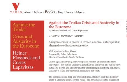 Leesmagazijn vertaald Against the Troika: Crisis and Austerity in the Eurozone door Heiner Flassbeck and CostasLapavitsas