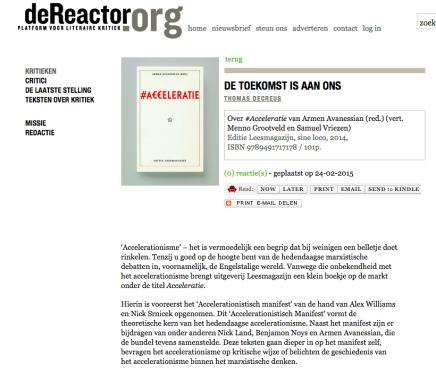 DE TOEKOMST IS AAN ONS  Over #Acceleratie van Armen Avanessian (red.) (vert. Menno Grootveld en Samuel Vriezen) Editie Leesmagazijn, ThomasDecreus