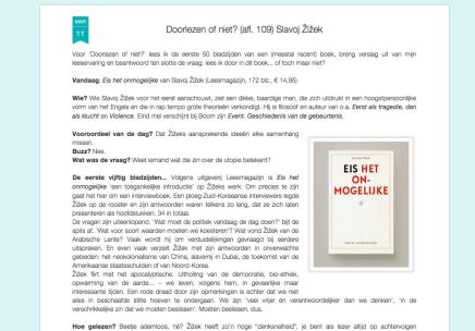 Mark Cloostermans: Doorlezen of niet? (afl. 109) SlavojŽižek