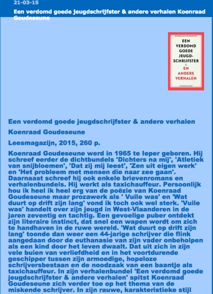 21-03-15 Een verdomd goede jeugdschrijfster & andere verhalen KoenraadGoudeseune