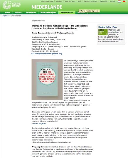 Wolfgang Streeck: Gekochte tijd – De uitgestelde crisis van het democratisch kapitalisme Ewald Engelen interviewt Wolfgang Streeck 2 April Goethe InstituutAmsterdam