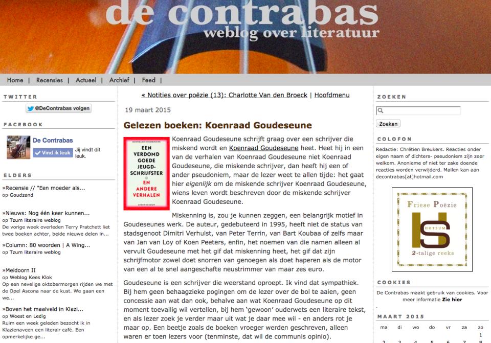 Gelezen boeken: Koenraad Goudeseune