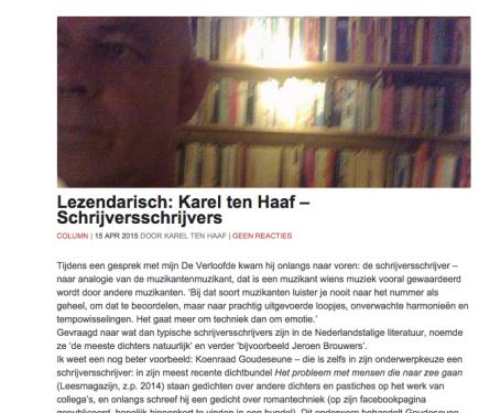 Lezendarisch: Karel ten Haaf – Schrijversschrijvers over 'Een verdomd goede jeugdschrijfster & andere verhalen' (Leesmagazijn, z.p. 2015) van Koenraad Goudeseune, Tzum15-4-15
