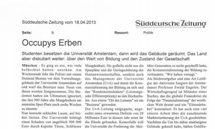 'Occupys Erben', Süddeutsche Zeitung, Thomas Kirchner, 17. April2015