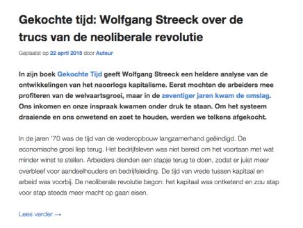 Gekochte tijd: Wolfgang Streeck over de trucs van de neoliberale revolutie, Mia Molenaar, in Lang Leve Europa,22-4-15