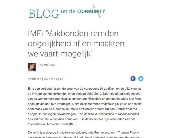 IMF: 'Vakbonden remden ongelijkheid af en maakten welvaart mogelijk', Jan Willems
