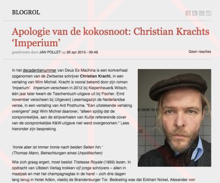 Apologie van de kokosnoot: Christian Krachts 'Imperium' geschreven door JAN POLLET / WimMichiel