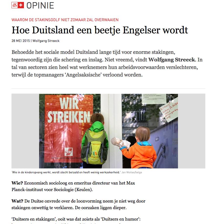 WAAROM DE STAKINSGOLF NIET ZOMAAR ZAL OVERWAAIEN  Hoe Duitsland een beetje Engelser wordt 28 MEI 2015   Wolfgang Streeck