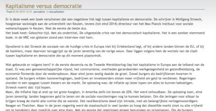Kapitalisme versus democratie, recensie Gekochte Tijd, Wolfgang Streeck, weblog van FredTak