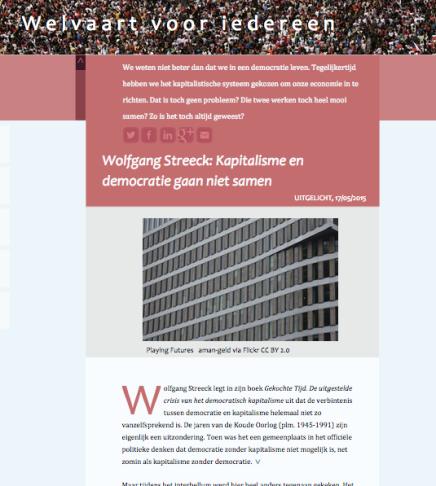 Wolfgang Streeck: Kapitalisme en democratie gaan niet samen, MiaMolenaar