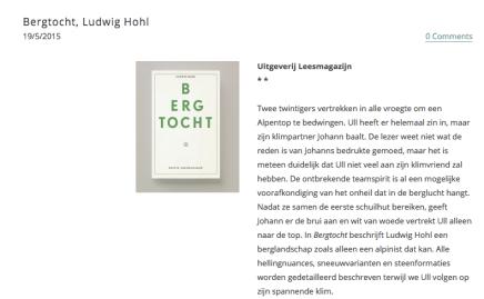 Over Bergtocht van Ludwig Hohl: 'Een literaire must die elke alpinistenuitrusting compleet maakt'.  Recensie Ibook, DirkDegraeve