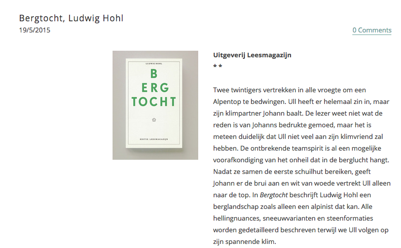 Bergtocht, Ludwig Hohl, recensie Ibook