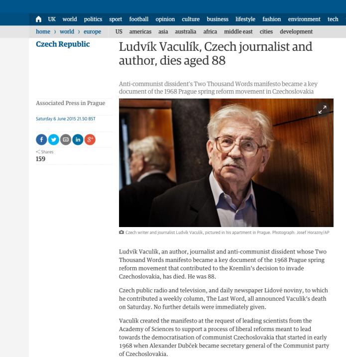 Ludvik Vaculik gestorven