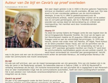 'Auteur van De bijl en Cavia's op proef overleden', Literatuurplein, Jef vanGool
