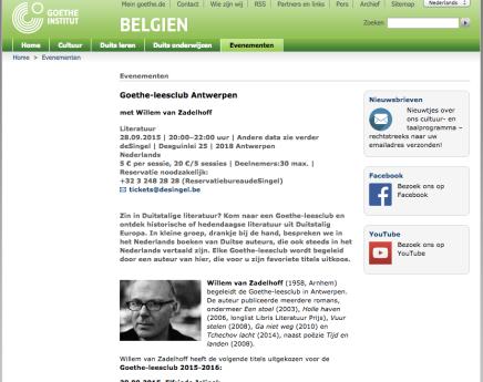 Johann Holtrop van Rainald Goetz, Goethe-leesclub Antwerpen met Willem vanZadelhoff