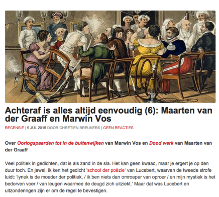 Achteraf is alles altijd eenvoudig (6): Maarten van der Graaff en Marwin Vos RECENSIE | 9 JUL 2015 DOOR CHRÉTIENBREUKERS