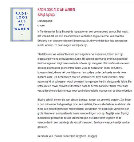 'Biçakçi schrijft zinnen die zoet zijn als baklava', over Radeloos als we waren, Thomas Barbier, Confituurtip – 24 JULI2015