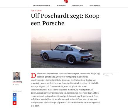 HOE TE LEVEN Ulf Poschardt zegt: Koop een Porsche, Sander Pleij, Vrij Nederland, 24 mei2015