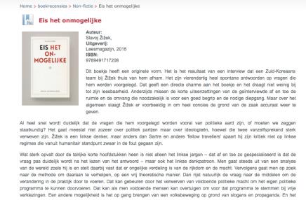 Eis het onmogelijke, Slavoj Zizek, boek recensie, Karel D'huyvetters, Humanistische VrijzinnigeVereniging