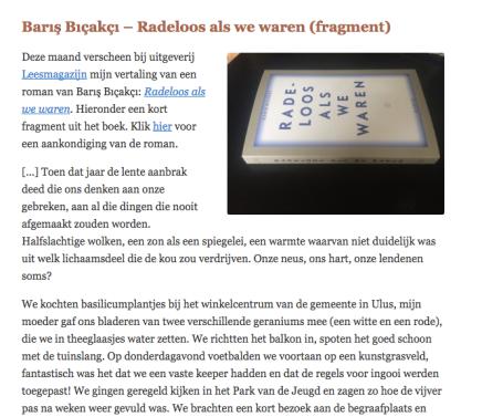 Barış Bıçakçı – Radeloos als we waren (fragment), Hanneke van der Heijden, Literatuur uitTurkije