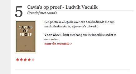 Cavia's op proef in 5 beste boeken van de week van De Standaard,17-7-15