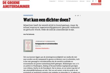 Wat kan een dichter doen?, Piet Gebrandy, woensdag 22 juli 2015, DeGroene