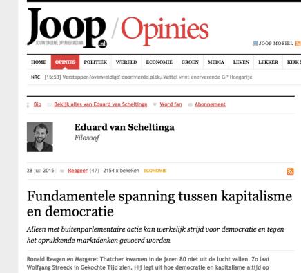 Fundamentele spanning tussen kapitalisme en democratie, Joop, 28-7-15, Eduard vanScheltinga