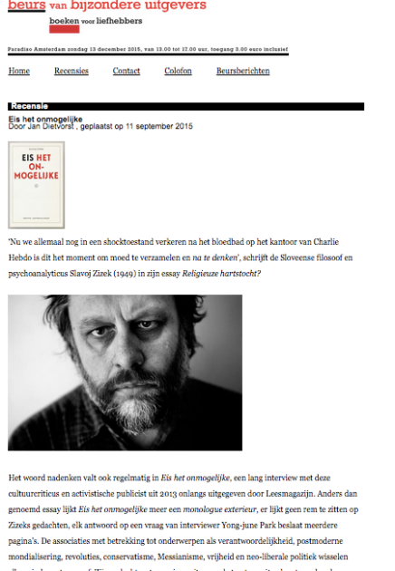 Eis het onmogelijke, van Slavoj Zizek, door  Jan Dietvorst , 11 september 2015, Beurs van bijzondereUitgevers