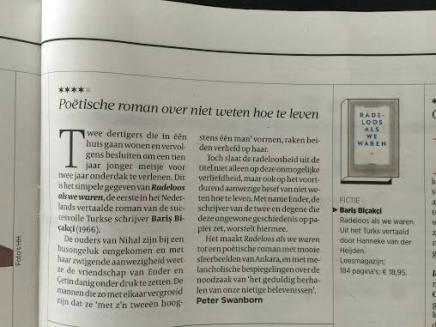 Poëtische roman over niet weten hoe te leven, Peter Swanborn, Volkskrant 3 oktober2015