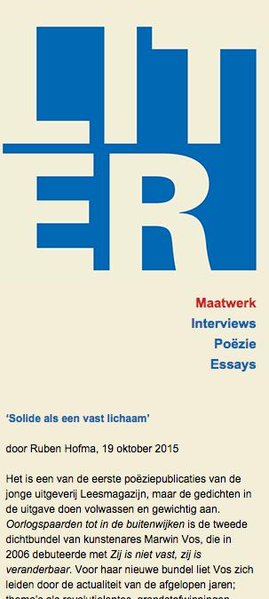 'Solide als een vast lichaam', door Ruben Hofma, 19 oktober 2015 over Oorlogspaarden tot in de buitenwijken, MarwinVos