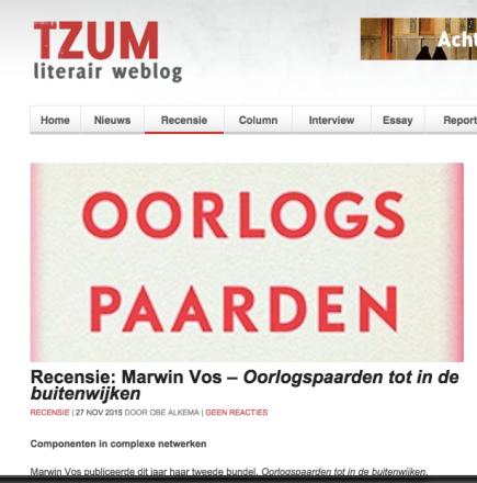 Recensie: Marwin Vos – Oorlogspaarden tot in de buitenwijken RECENSIE | 27 NOV 2015 door ObeAlkema