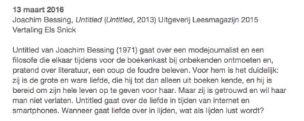 13 maart 2016 Goethe Institut Oostende Leesclub; Untitled van Joachim Bessing, vertaling ElsSnick