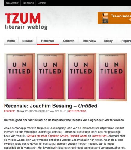 Tzum Recensie: Joachim Bessing – Untitled – Johannes van der Sluis | 18 JAN2016