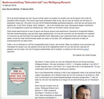 """Boekvoorstelling """"Gekochte tijd"""" van Wolfgang Streeck 15 februari 2016 door Herman Michiel, 15 februari2016"""
