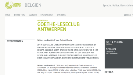 GOETHE-LESECLUB ANTWERPEN  Willem van Zadelhoff over RainaldGoetz