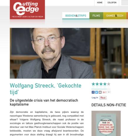 Wolfgang Streeck, 'Gekochte tijd' De uitgestelde crisis van het democratisch kapitalisme, Wout Waegemans, Cutting Edge, 26 januari2016
