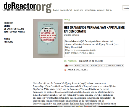 HET SPANNENDE VERHAAL VAN KAPITALISME EN DEMOCRATIE, WALTER WEYNS in De Reactor,29/03/16