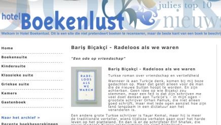 """Bariş Biçakçi – Radeloos als we waren """"Een ode op vriendschap"""" Turkse roman over vriendschap en verliefdheid, HotelBoekenlust"""